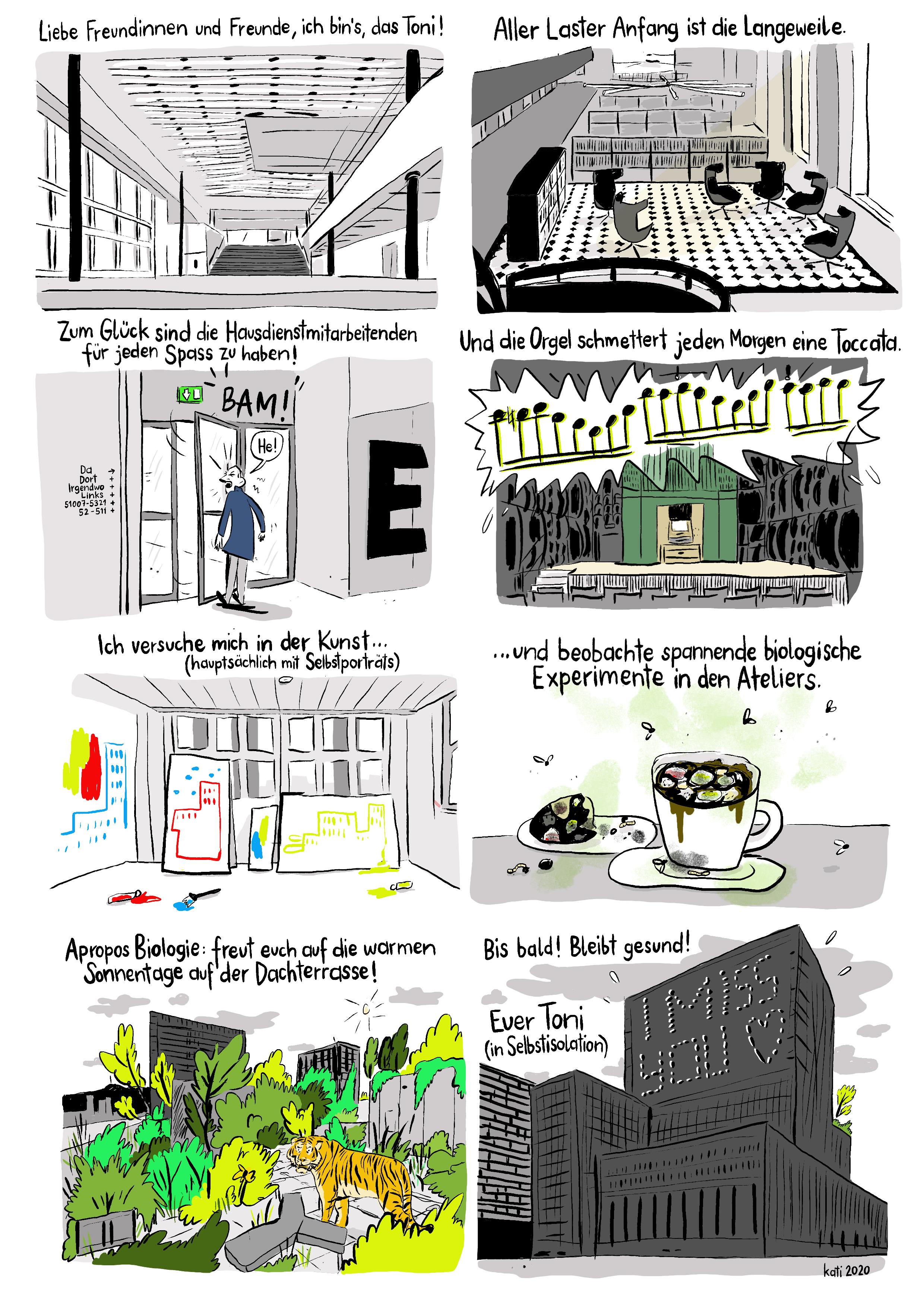 Das Toni in Selbstisolation, Comic von Kati Rickenbach