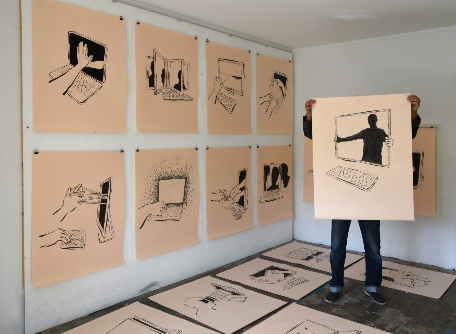 ZHdK faculty member Andreas Hofer documented the 2020 March lockdown in several ink drawings. Photograph: Andreas Hofer