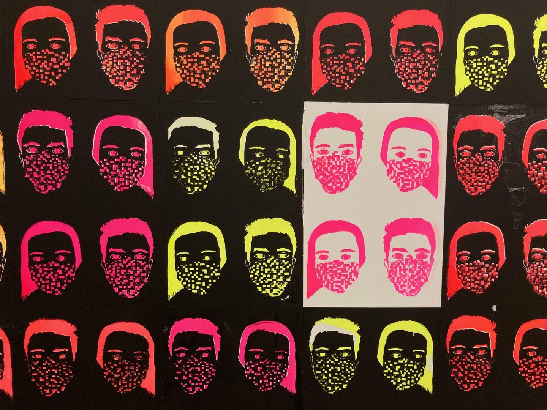 "Art in times of Covid-19: This silkscreen print by ZHdK student Nikita Spoerri adorns a wall at the ""Toni."" Photograph: Regula Bearth © ZHdK"