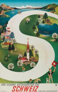 Für schöne Autofahrten die Schweiz / Verbilligtes Touristenbenzin, 1939. Museum für Gestaltung, Plakatsammlung © by Collection HERBERT LEUPIN / www.herbert-leupin.ch